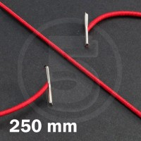 Cordino elastico rotondo con terminali in metallo, lunghezza 250mm, Rosso