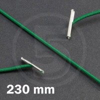 Cordino elastico rotondo con terminali in metallo, lunghezza 230mm, Verde