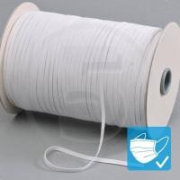 Cordino elastico piatto in bobina, altezza 5mm, Bianco