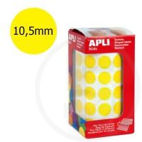 Etichette adesive rotonde color Giallo. Bollini tondi diametro 10,5mm