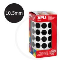 Etichette adesive rotonde color Nero. Bollini tondi diametro 10,5mm