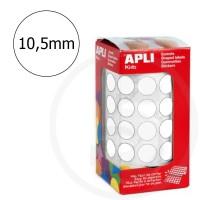 Etichette adesive rotonde color Bianco. Bollini tondi diametro 10,5mm