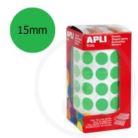 Etichette adesive rotonde color Verde. Bollini tondi diametro 15mm
