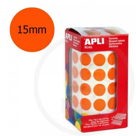 Etichette adesive rotonde color Arancione. Bollini tondi diametro 15mm