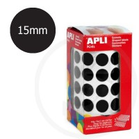 Etichette adesive rotonde color Nero. Bollini tondi diametro 15mm