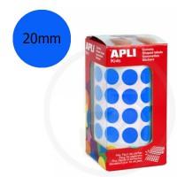 Etichette adesive rotonde color Blu. Bollini tondi diametro 20mm