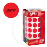 Etichette adesive rotonde color Rosso. Bollini tondi diametro 20mm