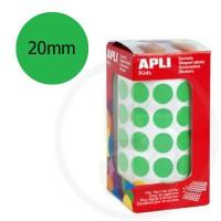 Etichette adesive rotonde color Verde. Bollini tondi diametro 20mm