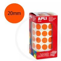 Etichette adesive rotonde color Arancione. Bollini tondi diametro 20mm
