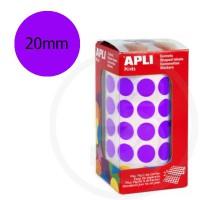 Etichette adesive rotonde color Viola. Bollini tondi diametro 20mm