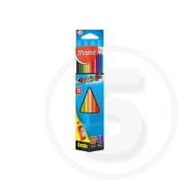 Pastelli triangolari colorpeps in scatola da 12 pz mina grande infrangibile 2,9 mm con temperamatite gratis