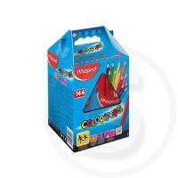 Pastelli triangolari colorpeps school pack - 144 matite (12 pz. x 12 col.) + 4 portamatite