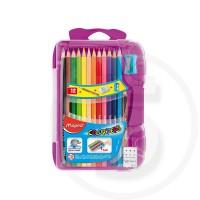 Pastelli triangolari colorpeps x12 + 1 temperino + 1 gomma + 1 matita mini - in scatola infrangibile piatta