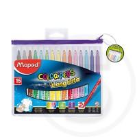 Pennarelli colorpeps long life ultra lavabili pz 15 in sc plastica appendibile con chiusura zip