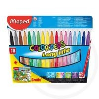 "Pennarelli colorpeps ""long life"" ultralavabili x18 + libro da colorare gratis"