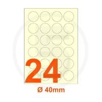 Etichette adesive diametro 40mm, in carta avorio vergata
