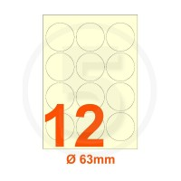 Etichette adesive diametro 63mm, in carta avorio vergata