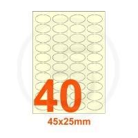 Etichette autoadesive 45x25mm, in carta avorio vergata