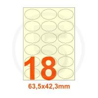 Etichette autoadesive 63,5x42,3mm, in carta avorio vergata