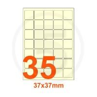 Etichette autoadesive 37x37mm, in carta avorio vergata