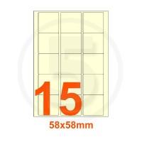 Etichette autoadesive 58x58mm, in carta avorio vergata
