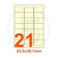 Etichette autoadesive 63,5x38,1mm, in carta avorio vergata