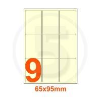 Etichette autoadesive 65x95mm, in carta avorio vergata