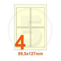 Etichette autoadesive 89,5x127mm, in carta avorio vergata