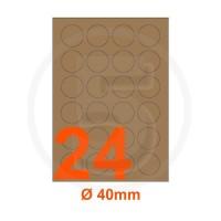 Etichette adesive diametro 40mm, in carta Kraft mille righe