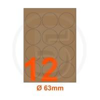 Etichette adesive diametro 63mm, in carta Kraft mille righe