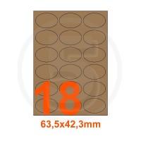 Etichette autoadesive 63,5x42,3mm, in carta Kraft mille righe