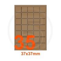 Etichette autoadesive 37x37mm, in carta Kraft mille righe