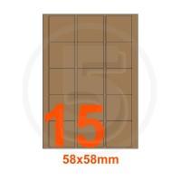 Etichette autoadesive 58x58mm, in carta Kraft mille righe