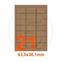 Etichette autoadesive 63,5x38,1mm, in carta Kraft mille righe